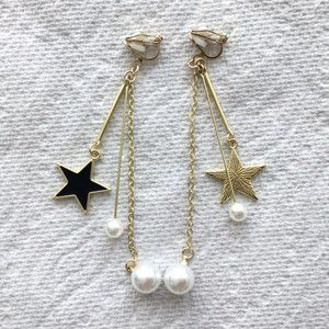 Star Drop Clip-On Earrings with Faux Pearls